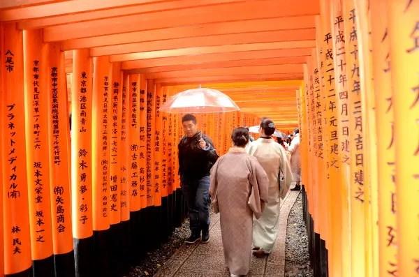 Fotos del Fushimi Inari de Kioto, gente entre los torii