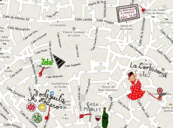 Mapa gastronómico de Sevilla