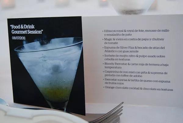 Menú del Gourmet Session Food & Drink