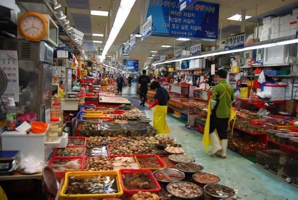 Mercado de pescado Jagalchi de Busan