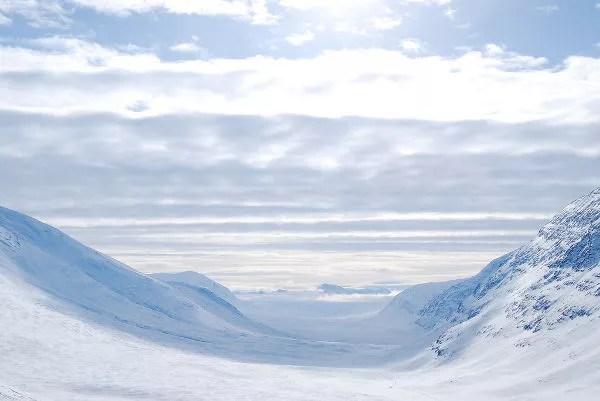 Vistas desde el paso Tjäktja en Laponia Sueca