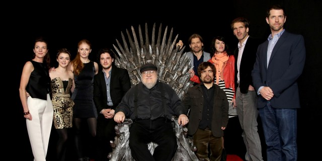 "HOLLYWOOD, CA - MARCH 19: (L-R) Michelle Fairley, Maisie Williams, Sophie Turner, Kit Haringston, George R.R. Martin, Peter Dinklage, Nikolaj Coster-Waldau, Lena Heady, David Benioff and D. B. Weiss pose for a portrait at the Academy of Television Arts & Sciences Presents An Evening With ""Game of Thrones"" at the TCL Chinese Theater on March 19, 2013 in Hollywood, California. (Photo by Brian Dowling/Invision for the Academy of Television Arts & Sciences/AP Images)"