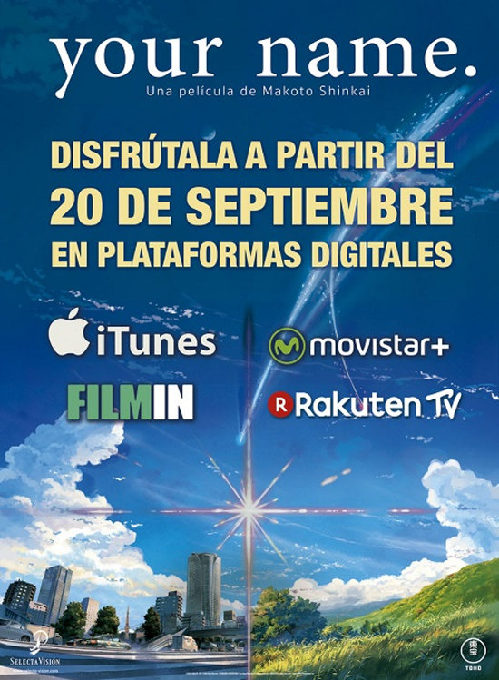 your name en plataformas digitales cartel - el palomitron