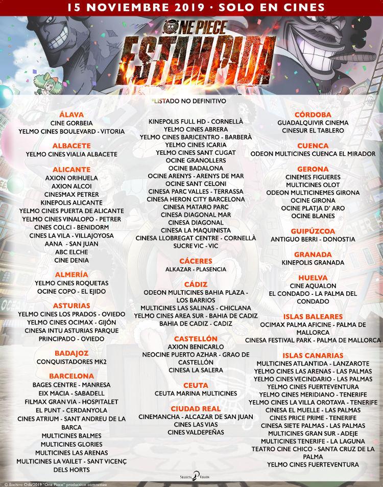 donde ver One Piece Stampede en España cines confirmados 1 - El Palomitrón