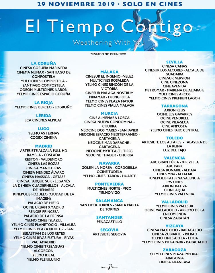 donde ver Weathering With You en España cines provisionales 27 nov 2 - El Palomitrón