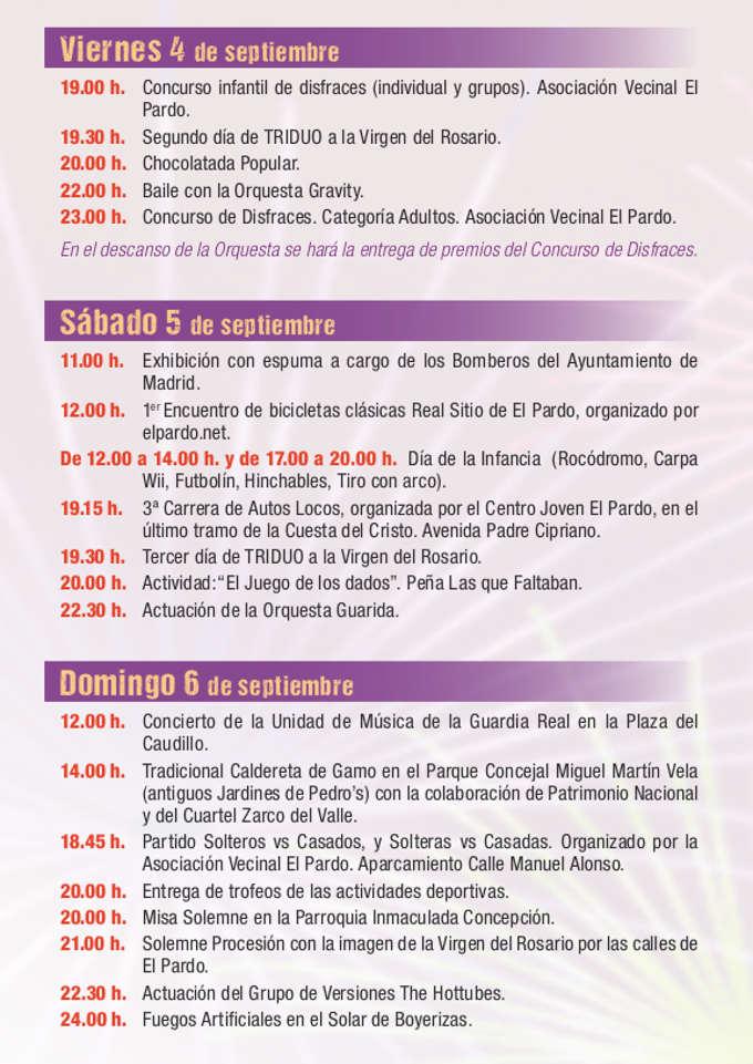 Programa de las Fiestas de El Pardo 2015