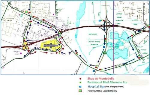 Caltrans dio a conocer este mapa con las desviaciones para ayudar a la comunidad a circular alrededor del cierre de la autopista 60 este fin de semana. El mapa señala las rutas a hospitales, las rutas alternas al bulevar Paramount y como pueden el público llegar al centro comercial Montebello Town Center.