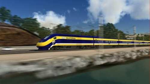 Representación de lo que sería el tren bala en California. Crédito: Los Angeles Times.