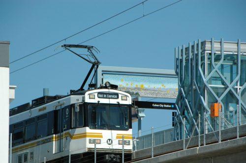 Tren en recorrido de prueba en la estación Culver City de la Línea Expo. (Foto Anna Chen/El Pasajero).