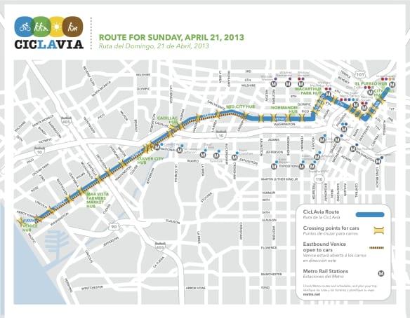 mapa CicLAvia 2013