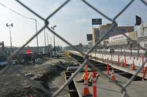 Construcción de la plataforma de una de las estaciones subterráneas.
