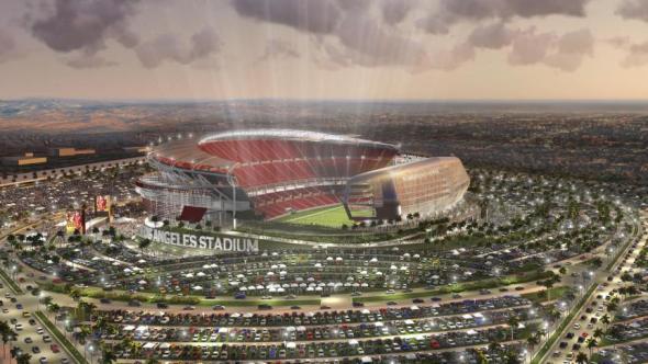 Ilustración para el proyecto de estadio en Carson que desean compartir los Chargers y los Rams.