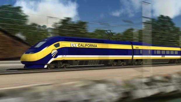 Ilustración del proyecto del tren bala en California.