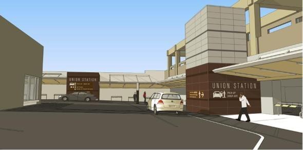 Ilustración del nuevo estacionamiento en Union Station.