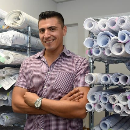 LOS ANGELES, CA - AUGUST 29: Metro feature of small business owners in Little Tokyo - Business Interruption Fund project. Edward Navarette - F.E. Design and Consulting on August 29, 2019 in Los Angeles, California.