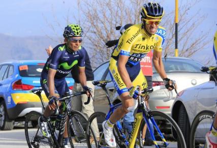 Alberto Contador y Nairo Quintana, durante la Tirreno 2014 (Foto: )