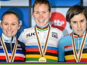 Caroline Mani (izquierda), Thalita de Jong (centro) y Sanne Cant (derecha), podio élite. Foto: © UCI