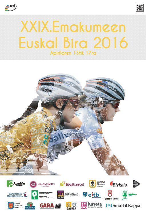 Cartel de la Euskal Emakumeen Bira 2016, diseñado por Lourdes Oyarbide (Bizkaia-Durango)