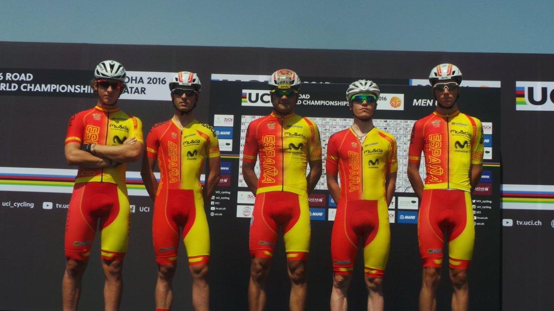 Selección española con Cortina, Serrano, López Irisarri y Carretero (Foto: @RFECiclismo )