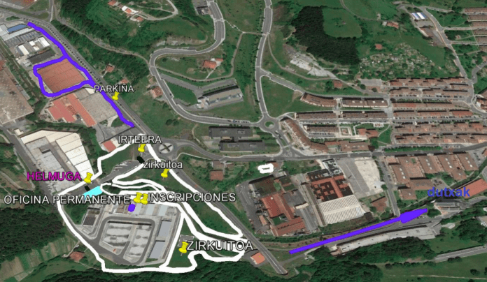 Mapa del circuito de Arrasate.