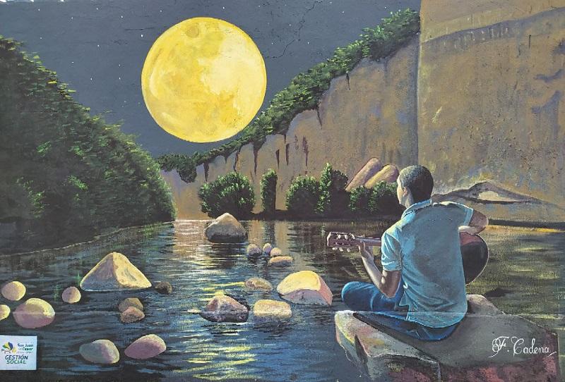 Pintura inspirada en la canción 'Luna sanjuanera' de Roberto Calderón.     FOTO: CORTESÍA.