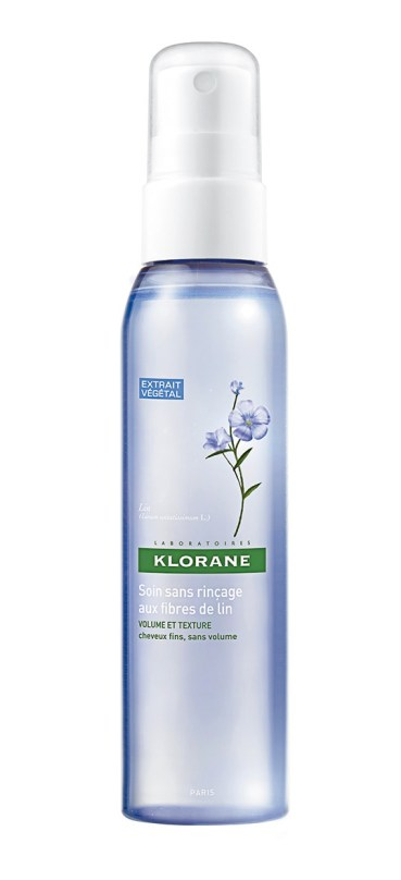 Spray de fibras de lino sin enjuague, de Klorane. Para cuidar y peinar el cabello, da cuerpo a las puntas sin hacerse notar.