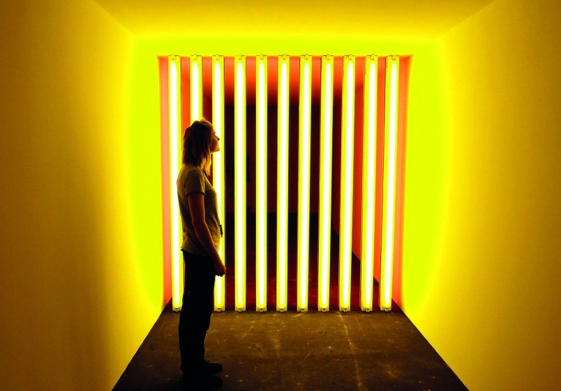 A woman stands at the installation 'Untitled (to Barry, Mike, Chuck and Leonard)' from 1972-1975 by late Jamaican artist Dan Flavin (1933-1996) at the Art Unlimited of the Art Basel art fair in Basel June 14, 2011. The Art Basel runs is opened to the public from June 15 to 19. REUTERS/Arnd Wiegmann (SWITZERLAND - Tags: ENTERTAINMENT)
