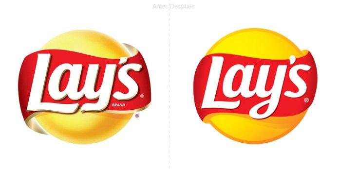 nuevo logo de papas lays junto con un moderno empaque