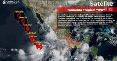 """Tormenta tropical """"Ivo"""" cercana a tierras mexicanas"""