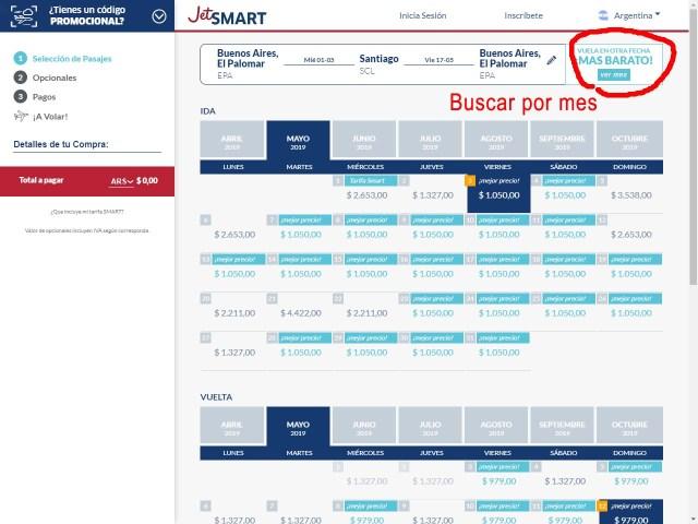 Grilla de Selección de Fechas en la web de JetSmart