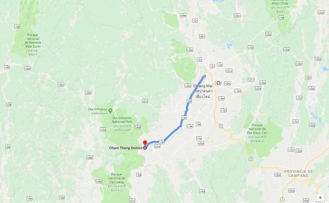 Ruta de Chiang Mai a Doi Inthanon