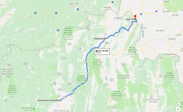 Ruta desde Chiang Mai, pasando por Chiang Rai hasta Huay Xai