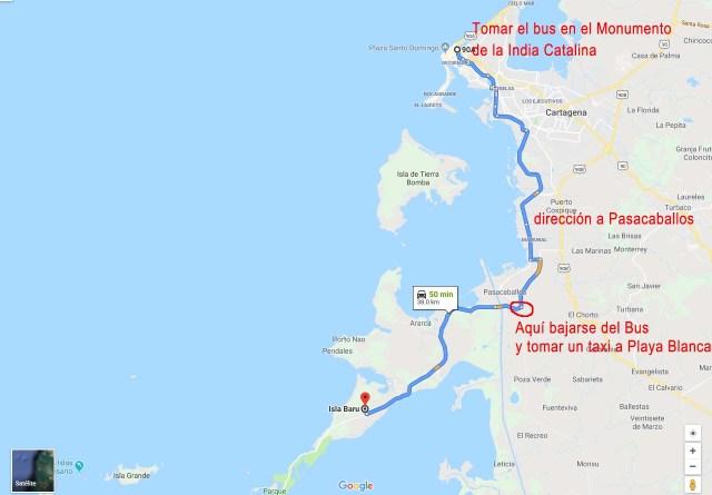 Mapa para llegar a Isla Barú desde Cartagena por tierra