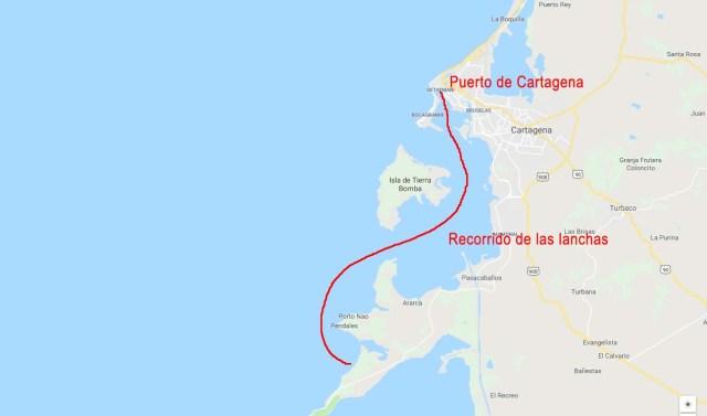 Mapa para llegar a Isla Barú desde Cartagena por mar