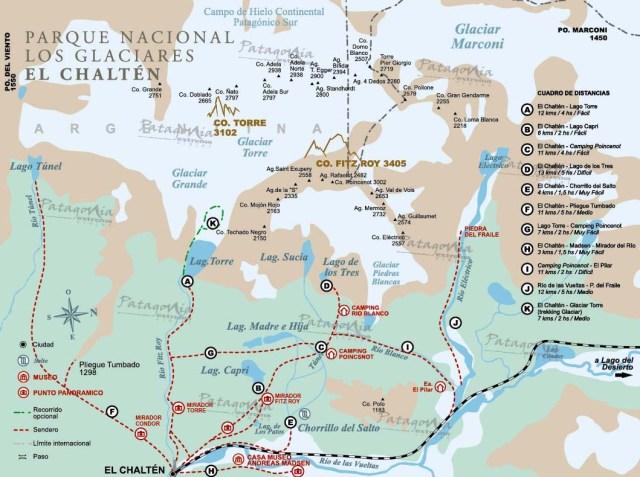 Mapa de senderos alrededor del Chaltén