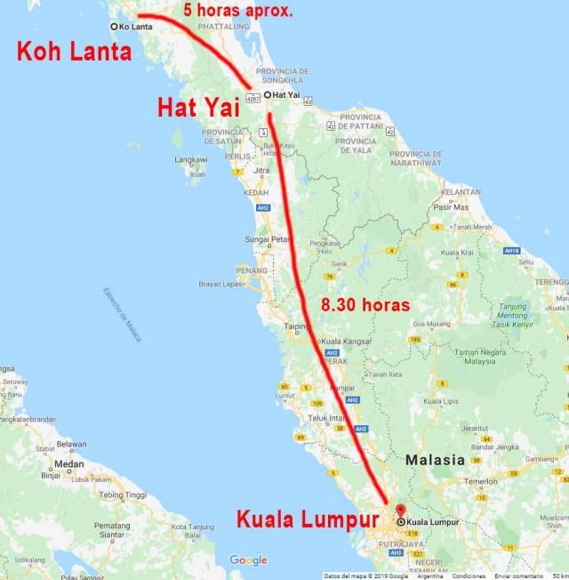 Mapa de como llegar desde Koh Lanta a Kuala Lumpur