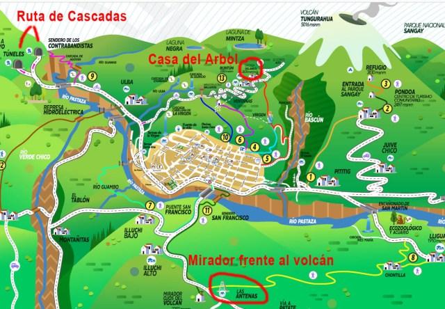 Mapa de atracciones turísticas de Baños