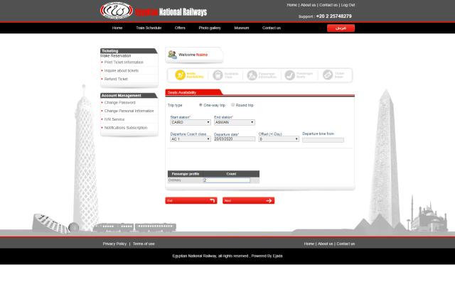 Paso 5 de como comprar boletos tren en Egipto por internet