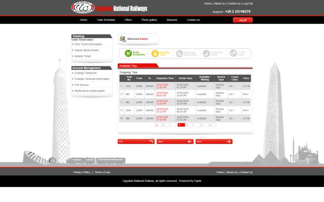 Paso 6 de como comprar boletos tren en Egipto por internet