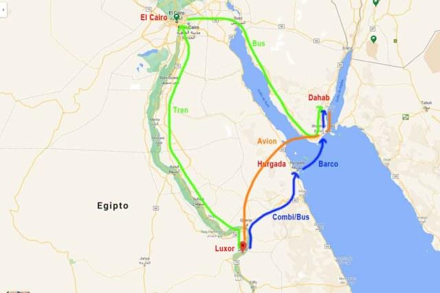 Mapa de ubicación de Dahab y Luxor