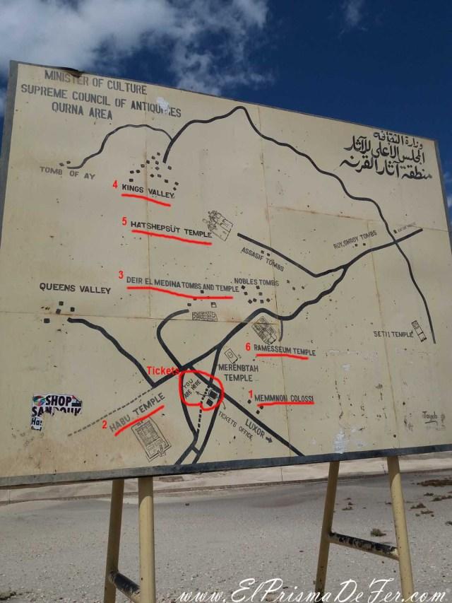 Plano de todos los templos y tumbas en la costa occidental de Luxor