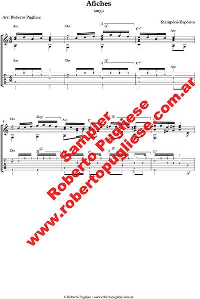 Afiches ejemplo de la partitura para guitarra en TAB