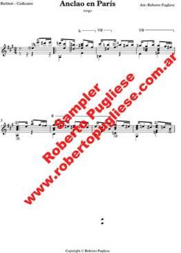 Anclao en Paris ejemplo de la partitura para guitarra