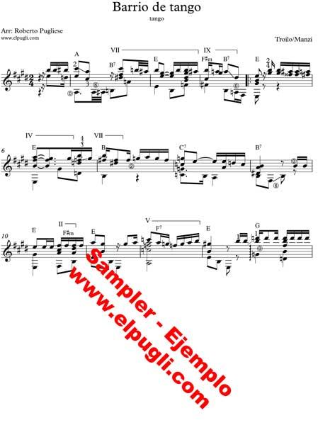 Ejemplo de partitura para guitarra del tango Barrio de tango de Anibal Troilo arreglada por el maestro Roberto Pugliese
