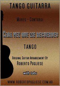 Cada vez que me recuerdes - tapa de la partitura de guitarra por Roberto Pugliese