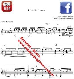 Cuartito Azul - ejemplo de la partitura arreglo para guitarra por el maestro Roberto Pugliese