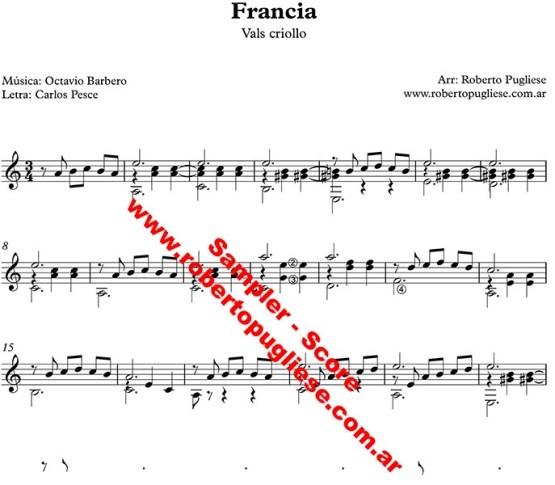 Francia vals criollo. ejemplo de la partitura para guitarra, arreglo del maestro argentino Roberto Pugliese - con video