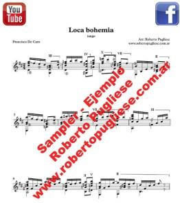 Loca bohemia ejemplo de la partitura del arreglo para guitarra por el maestro argentino Roberto Pugliese