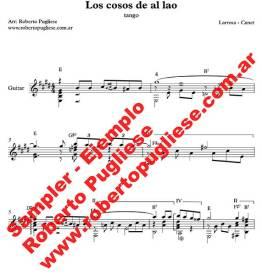 Los cosos de al lao - ejemplo de la partitura para guitarra, arreglo del maestro argentino Roberto Pugliese
