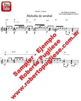Ejemplo de Tango Melodia de arrabal - tapa de la partitura para guitarra en un arreglo del maestro argentino Roberto Pugliese